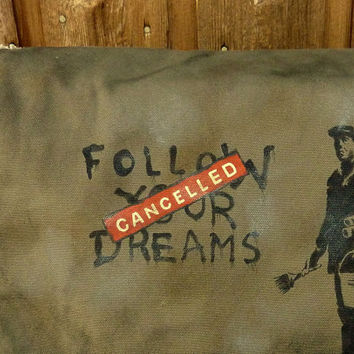 Canvas Messenger Bag Hand Painted Banksy Dreams by clpstudio