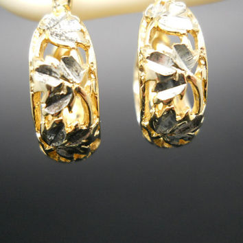 Filigree Hoops, Sterling Silver, 20mm Hoop Earrings, Leaf Earrings, Vine Earrings, Gold Over Silver, 925 Hoops, Sterling Hoops, Silver Hoops