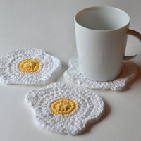 Egg Coasters, Sunny Side Up Fried Egg Beverage Coaster, Set of 4 or 6, Gift Wrap in Sheer White Organza Bag Available