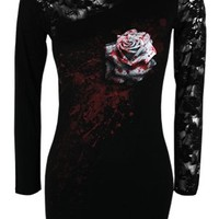 Spiral White Rose Lace Shoulder Ladies Top - Buy Online at Grindstore.com