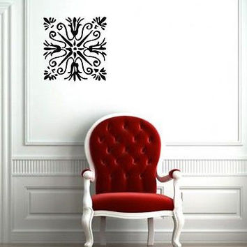Wall Mural Vinyl Sticker Decal patterns stained glass floral motif   DA1731