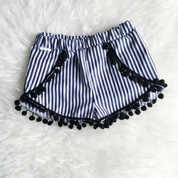 Baby toddler tulip shorts with pom pom trim | coachella baby shorts | festive baby outfit