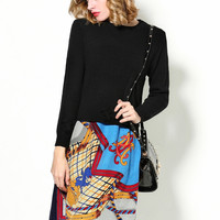 Black Knit Long Sleeve Printed A-Line Skirt Set