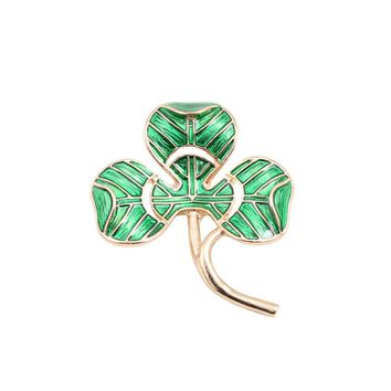 New style beautiful  green enamel clover girl texture brooch corsage pins 2017 production factory direct sale