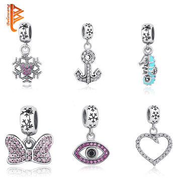 Fits Pandora Charms Original Bracelets 925 Sterling Silver Snowflake Evil Eye Beads With Clear CZ&Crystal Charms DIY Jewelry