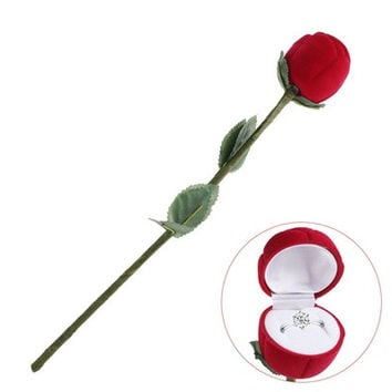 Red Rose Engagement Wedding Ring Earrings Jewelry Gift Box Case (Size: 26cm, Color: Red) [7980700807]