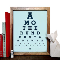 A Mother Understands What A Child Does Not Say, Eye Chart, 8 x 10 Giclee Art Print, Buy 3 Get 1 Free