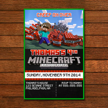 Minecraft TNT BOOMB Design Invitation