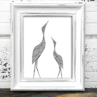 Bird Wall Art // Instant Download Printable 8x10 Rustic Twig Birds Of Grace Silhouette Digital Print // Rustic Art
