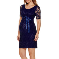 Maternity Elbow-Sleeve Lace Dress with Bow Belt - JCPenney