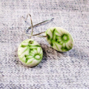 Tiny Drop Earrings, Green Porcelain Flowers - handmade ceramic jewelry