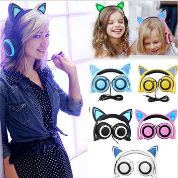 Lovely Cat Ear Headphones Fordable Wired Over Ear Kids