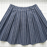 90's Grid Skirt, Navy Blue Plaid Skirt, School Girl Skirt, Pleated Skirt, High Waisted Skirt, Minimalist, Aesthetic, Tumblr, S