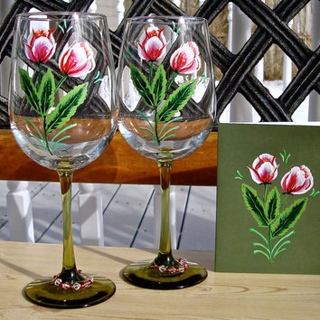 Hand Painted Wine Glasses And Matching Card Gift Set