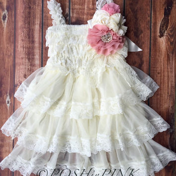 Rustic girl dress, pin, ivory country, rose, pink, cream lace chiffon dress, flower girl, bridal wedding, shabby chic, vintage, ruffle,child