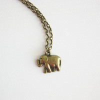 Elephant Necklace,  Bronze Elephant Necklace, Antique Brass Elephant Necklace, Antique Brass Chain