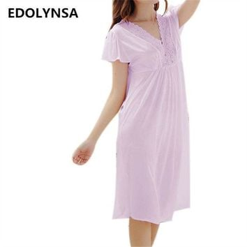 CREYONHS New Arrivals Lace Nightgowns Sleepshirts Solid Sleepwear Sexy Nightgown Female Soft Home Dress Vintage Cute Nightgown #H159