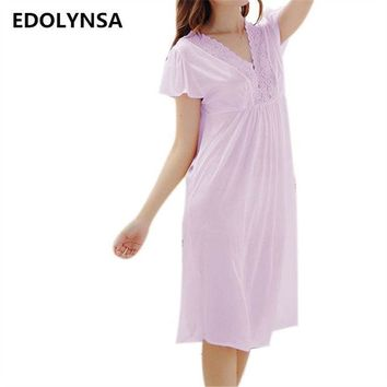 ESBONHS New Arrivals Lace Nightgowns Sleepshirts Solid Sleepwear Sexy Nightgown Female Soft Home Dress Vintage Cute Nightgown #H159