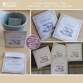 Tea bag favors, Vintage printable tea bag envelope, Bridal shower tea bag holder, Tea party favour gift, Shabby chic tea bag envelopes