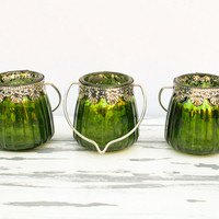 Set of 3 Bright Green Hanging Tea Light Holders Tealight Candle Stick Bottle Glass Candlestick Christmas Tealights Glass Votive Sea Green