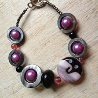 Purple and Black Bracelet, Lampwork Glass Bead, Purple Round Beads, Circle Shell Beads, Fun and Funky Bracelet