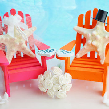 NEON Wedding Cake Topper ~ Miniature Adirondack Chairs  ~ Starfish Bride and Groom ~ Beach Wedding Decor ~ Cake Topper