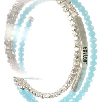 Aqua Blue Glass Metallic Bead Coil Wire Message Bracelet