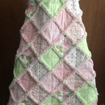 Baby Rag Quilt Handmade Soft Flannels Pastel Colors Pink Green Patchwork Children's Blanket Toddler Bedding