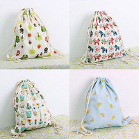 New Gym Backpack Drawstring Shoulders Travel Bag Big Flowers Swim Beach Bags