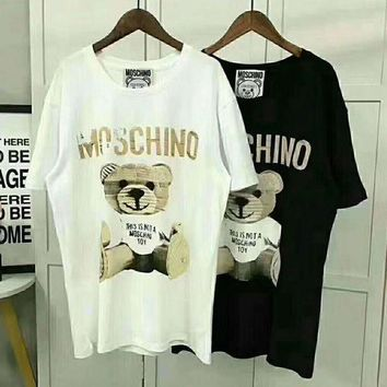LMFNW6 Moschino Women Bear Fashion Round Neck Tunic Shirt Top Blouse