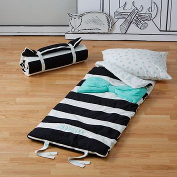 Candy Bow Sleeping Bag (Mint) - black and white striped design with mint bow
