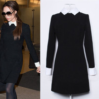 Doll Collar Color Block Long Sleeve Mini Dress