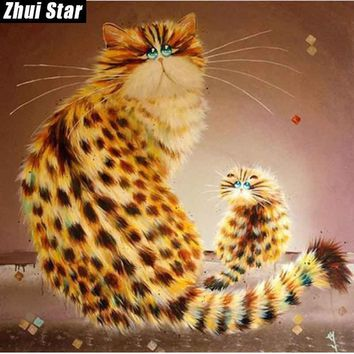 5D Diamond Painting Spotted Puff Cats Kit