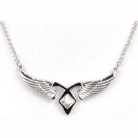 2016 New Movie Film Jewelry City of Bones Necklace Angelic Forces Power Angel Wing Pendant The Mortal Instruments Angelic Runes