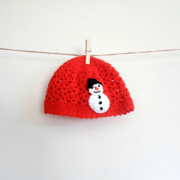 Little girl hat . Crochet red hat. Little girlchristmas red hat. Snowman red hat. Red lace hat.