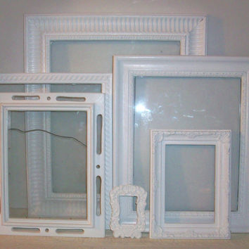 Set of 6 Shabby Chic Bright White Picture Frames for Gallery Wall
