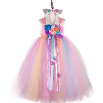 POSH DREAM Flower Colorful Unicorn Kids Girls Tutu Dress Unicorn Girls Birthday Dress Unicorn Horn Halloween Costume Outfit
