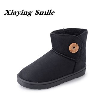 Xiaying Smile New Winter Women Snow Boots Warm Round Toe Ankle Boots Solid Platform Flats Fashion Casual Flock Fur Rubber Shoes