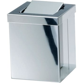 DWBA Square Bathroom Watebasket Extra Small Countertop Trash Can W/ Swing Lid. Steel Chrome