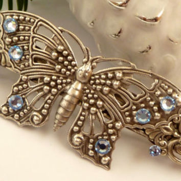 Large hair clip in blue antique silver with butterfly, bridal hair accessories, rhinestone hair clip, gift for her, Christmas Gift,