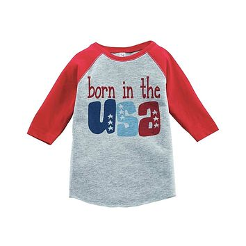 Custom Party Shop Born in the USA 4th of July Raglan Tee