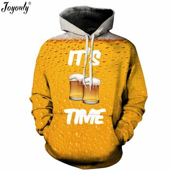 Joyonly Women Men 3D Hoodies It's Beer Time Pizza Hamburger Nutella Food Noddle Banana Printing Sweatshirt Hooded Brand Clothing