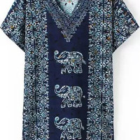 Navy Blue V-Neckline Animal and Tribal Print Loose Fitting Mini Dress