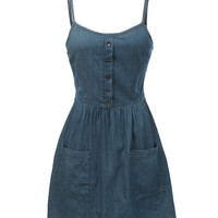 LE3NO Womens Chambray Denim Sleeveless Dress with Pockets (CLEARANCE)