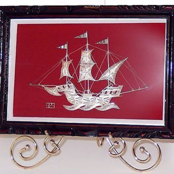 Sterling Silver Filigree Ship Model Shadowbox Frame 3 Flags Sails 8 1/2in long