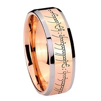 8MM Rose Gold Lord of The Ring Bevel Edges 2 Tone Tungsten laser Engraved Ring