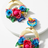 Vibrant Flower Drop Earrings