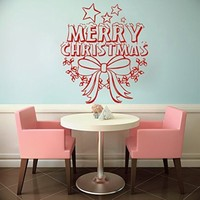 Wall Decals Merry Christmas Star Decorations Bow Decal Vinyl Sticker Art Bedroom Nursery Home Decor Art Murals MS740