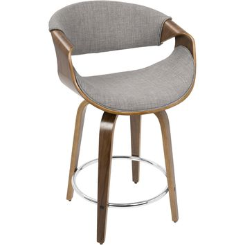 Curvini Mid-Century Modern Counter Stool, Walnut Wood & Light Grey Fabric