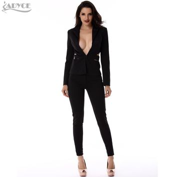 Women Suits Black Hollow out backless Sexy Lady Business Suit